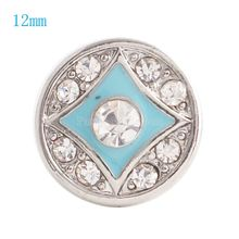 12MM Round snap Silver Plated with clear rhinestones and Enamel  snaps jewelry KS6053-S