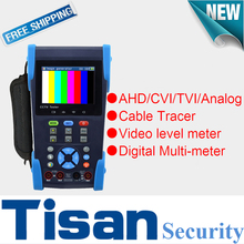 New TVI AHD CVI Analog cctv tester Monitor with Video level meter ,Cable Tracer,Video level test and Digital Multi-meter test(China)