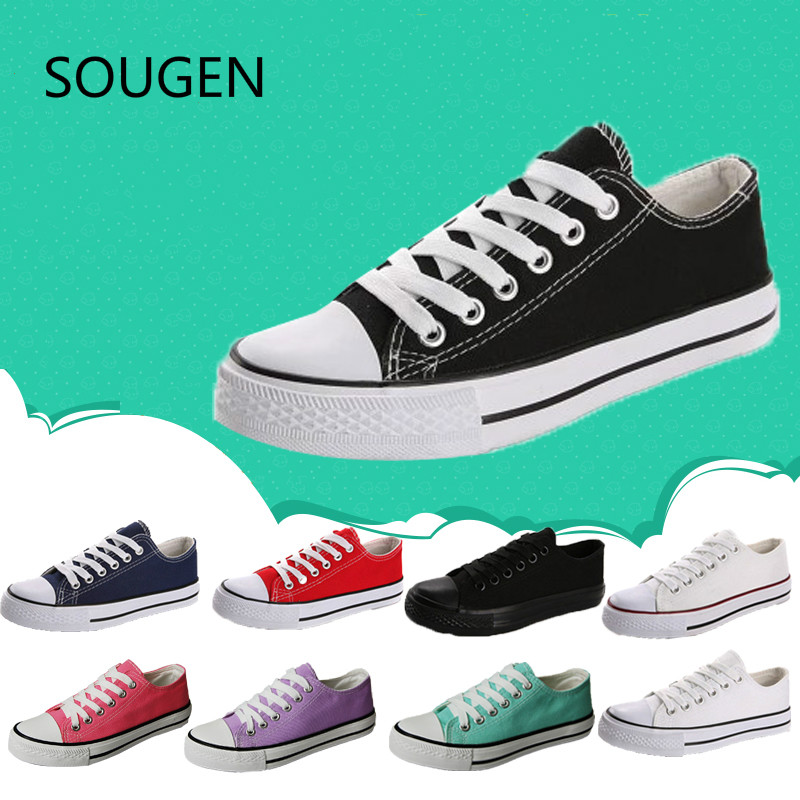 Canvas Shoes Red Fashion Student Low Help Casual Womens Shoes Black White Flat Tie Lace Classic White Shoes Woman Zapatos Mujer<br><br>Aliexpress