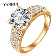 YANHUI Brand Wedding Rings For Women original Gold Filled Luxury 2 Carat CZ Diamant Zircon CZ Engagement Rings Jewelry YCRI0010(China)