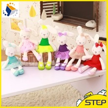 2016 New Arrival Easter Day Super Soft Cute Rabbit Plush Toy Colorful Bunny Stuffed Animal Doll Sleeping Toys for Children ST359(China)