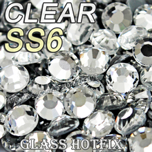 SS6 1440pcs/Bag Clear Crystal DMC HotFix FlatBack Rhinestones glass strass,DIY heat iron hot fix glass crystals stones glitters
