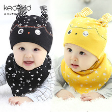 2017 Owl Star Pattern Baby Hat Newborn Infant Beanies for Child Kids Boys Girls Toddler Cotton Cap + Bibs Scarf, 2pcs/set
