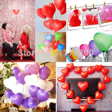 100 PCS/lot Heart Shaped Latex Balloons Wedding Valentine Birthday Day Party BallonsDecoration Suppliers Free shipping