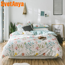 Svetanya Floral Print Bedding Set 100 Cotton Bed Linens Single Double Queen King size (Duvet Cover+flat Sheet+Pillowcase)(China)