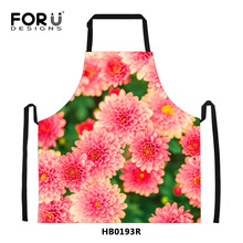 Novelty 3D Floral Print Aprons for Women Kitchen Cooking Cleaning Waterproof Apron Men Chef Coffee Bar Funny Flower Aprons