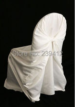 50pcs Universal White Taffeta Back Self Tie Wedding Chair Cover, White Chair Cover for Event,Hotel&Banquet&Party Decoration