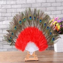 1pcs/lot Red Color peacock tail gorgeous feather dancing fan decoration bride room home handmade wedding Events party Supplies