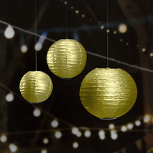 "10pcs/lot 6""-16""Metallic Gold/Silver Paper Lanterns Led lamp For Kid's DIY Pattern Hanging Balls For Wedding Banquet Party Decor"