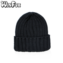 Winfox New Brand Fashion Winter Unisex Black Grey Red Solid Color Rib Knitted Beanies Hats For Woman Mens Kids Girls Boys(China)
