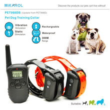 300M Remote Control Dog Electric Collar, Rechargeable and Waterproof LCD Pet Dog Training Collar Anti Bark Control for 2 dogs(China)