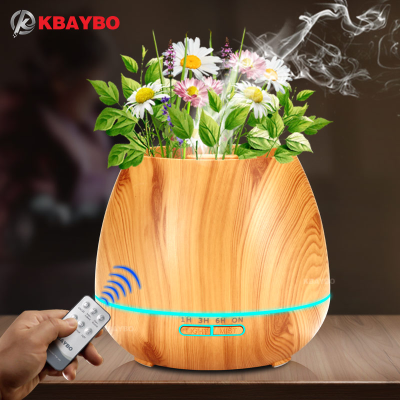 KBAYBO 550ml Aroma Essential Oil Diffuser Ultrasonic Air Humidifier with Wood Grain electric LED Lights aroma diffuser for home<br>
