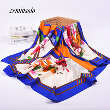 130*130cm Women Satin Square Silk Scarf High Quality Imitated Silk Satin Scarves Shawl Hijab 2017 Fashion Style Bandana Stole