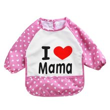 Cute Children Bib Cartoon Printed Long Sleeve Baby Bib Infant Waterproof Apron Clothing