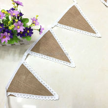 8pcs/Set Triangle Natural Lace Jute Burlap Wedding Banner Flag Vintage Christmas Birthday Party Decoration Home Event Supplies