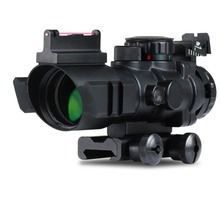 Laser Air Soft Tactical Compact Scope 4X32 Sight Prismatic Riflescope With Fiber Optic Sighter Tri-illuminated Recticle(China)
