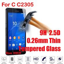 Best Anti-Scratch Cheap Ultra Thin Anti-Explosion 9H Hard 2.5D 0.26mm Phone Cell Glass Screen Protector For Sony Xperia C C2305