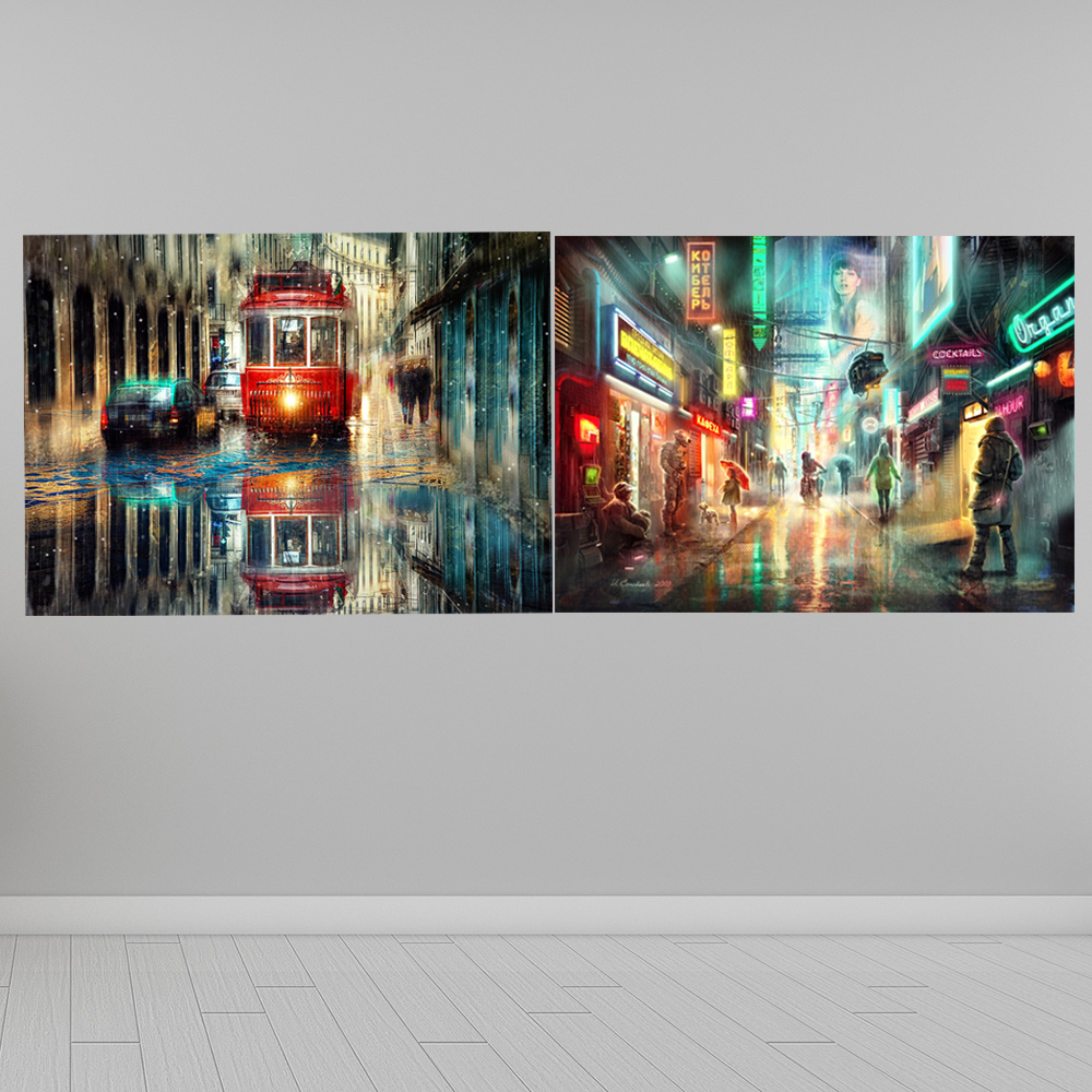 Home Wall Decor Historic Street Landscape Oil painting Picture Printed on canvas