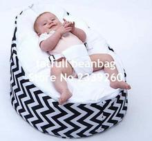 COVER ONLY, NO FILLINGS - Black zigzag , W pattern baby bean bag chair , kids toddlers beanbag sleeping pods