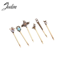 JOOLIM 2016 Gorgeous Crystal Accessories Barrettes 6pcs/ set Hair Jewelry Free Shipping Nickel and Lead Free(China)