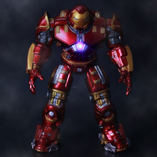 High Quality 17cm With LED Light Avengers Ironman electroplating Action Figures Hulkbuster Superman Iron Man Toys Pvc Kids Toy