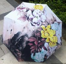 Chinese traditional oil painting umbrella colorful flower sunflower anti-uv sun unbrella