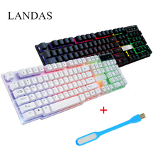 Landas 104 Key Wired Gaming Keyboard Backlit For Gamer Desktop Mechanical Feel Led USB Back Light Compuer Gamer Gaming Keyboard(China)