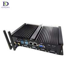 Fanless HTPC Mini PC 4 COM RS232  Intel Celeron 1037U  Mini Industrial Computer Dual LAN Desktop PC USB3.0 HDMI VGA TV BOX