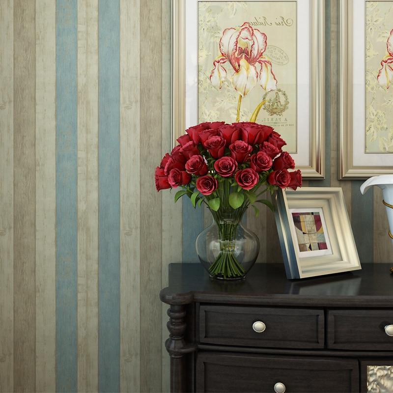 Beibehang Mediterranean vertical stripes vintage wood grain wallpaper Living room TV background wallpaper Desktop wallpaper roll<br>