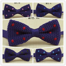 2014 new purple knitted bowtie men's fashion pink blue red Embroidered dot design bow tie