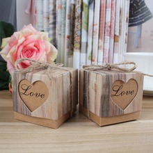 100pcs Kraft Gift Box Candy Boxes for Wedding Favor Boxes Packaing Rustic Imitation Bark with Burlap Twine
