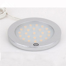 6pcs/lot New DC12V Round LED Flat Under Cabinet Lamp Lights Touch On/Off for Furniture Showcase Lighting 12V 3W