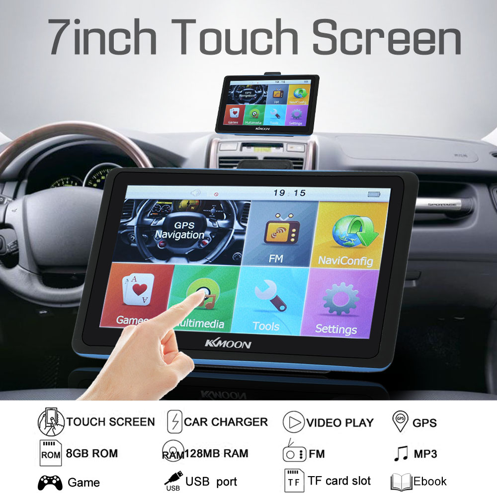 KKmoon 7''inch HD Touch Screen Car Portable GPS Navigation 8GB/128MB FM MP3 Video Player System with Free Map(China (Mainland))