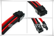 WinfMOD PCI-E 8PIN three braid extension power cable 18AWG with Black and Red sleeving --- 6P+2P