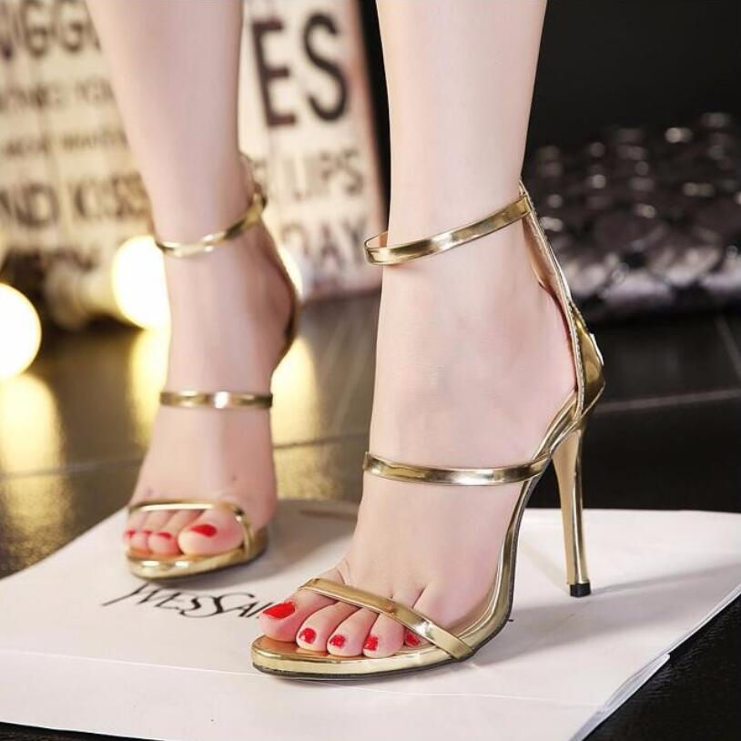 {D&amp;H} New Fashion Gold Narrow Band Womens Sandals Designer Black Ankle Strap High Heel Sandals Women Dress Shoes Woman<br><br>Aliexpress