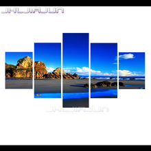 kids room decoration nordic 5 piece canvas art Blue sky landscape Modular pictures movie poster prints oil painting home decor
