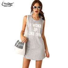 Summer Dress Women Active Letter Print Streetwear Dresses Elia cher Brand Chic Sexy open Back Plus Size Causal Dresses(China)
