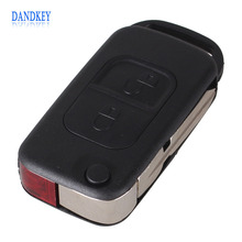 Dandkey Car Style 2 Button Flip Folding Key Shell Case Entry Remote Key Cover Replacement For Mercedes Benz A C E S
