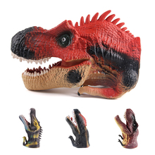 Halloween party gadget PVC hand puppet dinosaur head golve lifelike animal model jurassic role play toy for kids adult one piece(China)