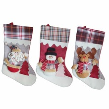 "Classic 3D Christmas Stockings 18""Cute Santa's Toys new year gift Christmas Decor Plaid Santa Claus Sock Gift Bag Kids Xmas tree"