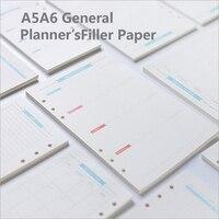 A5/A6 6 Holes Blue Label Colored Planner Accessories Spiral Filler Paper Office School Stationery Binder Planner Filler Paper