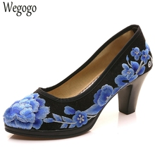 Chinese Women Pumps Satin Floral Embroidered Medium Heel Elegant Ladies Round Toe Retro Zapatos Mujer Shoes For Cheongsam(China)