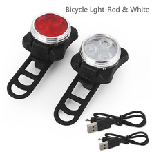Cycling Bicycle Bike 3 LED Head Front With USB Rechargeable Tail Clip Light Lamp A2(China)