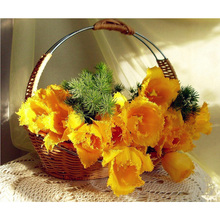 5D DIY Diamond Painting Flower Crystal Diamond Painting Cross Stitch Yellow rose Flower Basket Needlework Home Decor H1606