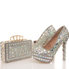 2017 New designer AB Crystal Wedding Shoes with Matching Bag Beautiful Bridal Dress Shoes Prom Party High Heels with Clutch