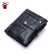 Senkey style Wallet for Men Genuine Cow Leather Retro Locomotive Masculina Short Purse Zipper Coin Pocket Card ID Holder Purse