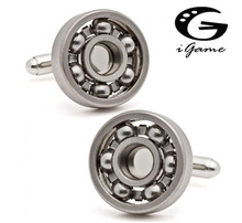 Free shipping Ball Bearing Cufflinks Functional Rotatable Diversity of Mechanic Vintage Metal Color Bearing Design Cuff Links(China)