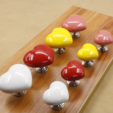 MEGAIRON Colorful Love Heart Shape Ceramic Cabinet Knobs Cupboard Dresser Drawer Door Furniture Pull Handle With Screws(China)