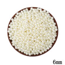 6mm ABS Ivory Imitation Pearl Round Hole Beads 500pcs/lot Cheap Wholesale Resin Ball Decoration Beads For DIY Jewelry Making(China)