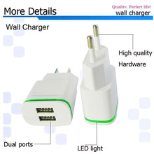5V 2A Smart LED Light 2 Ports USB Charger Fast Wall Adapter Original Charger For iPhone 5 6 7 4 Samsung HTC LG G3,Mobile Phone
